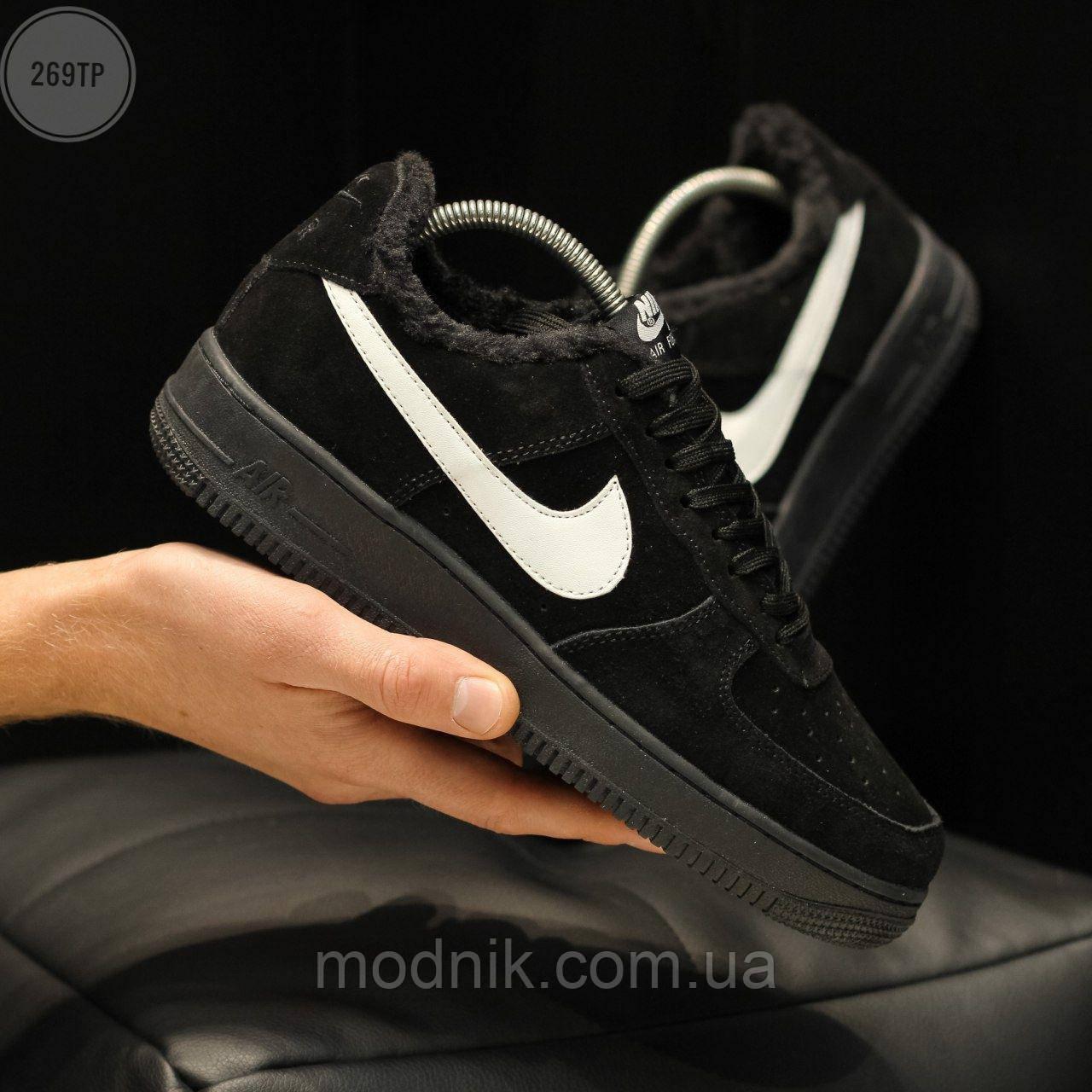 Мужские зимние кроссовки Nike Air Force Low Black Winter (черные) 269TP
