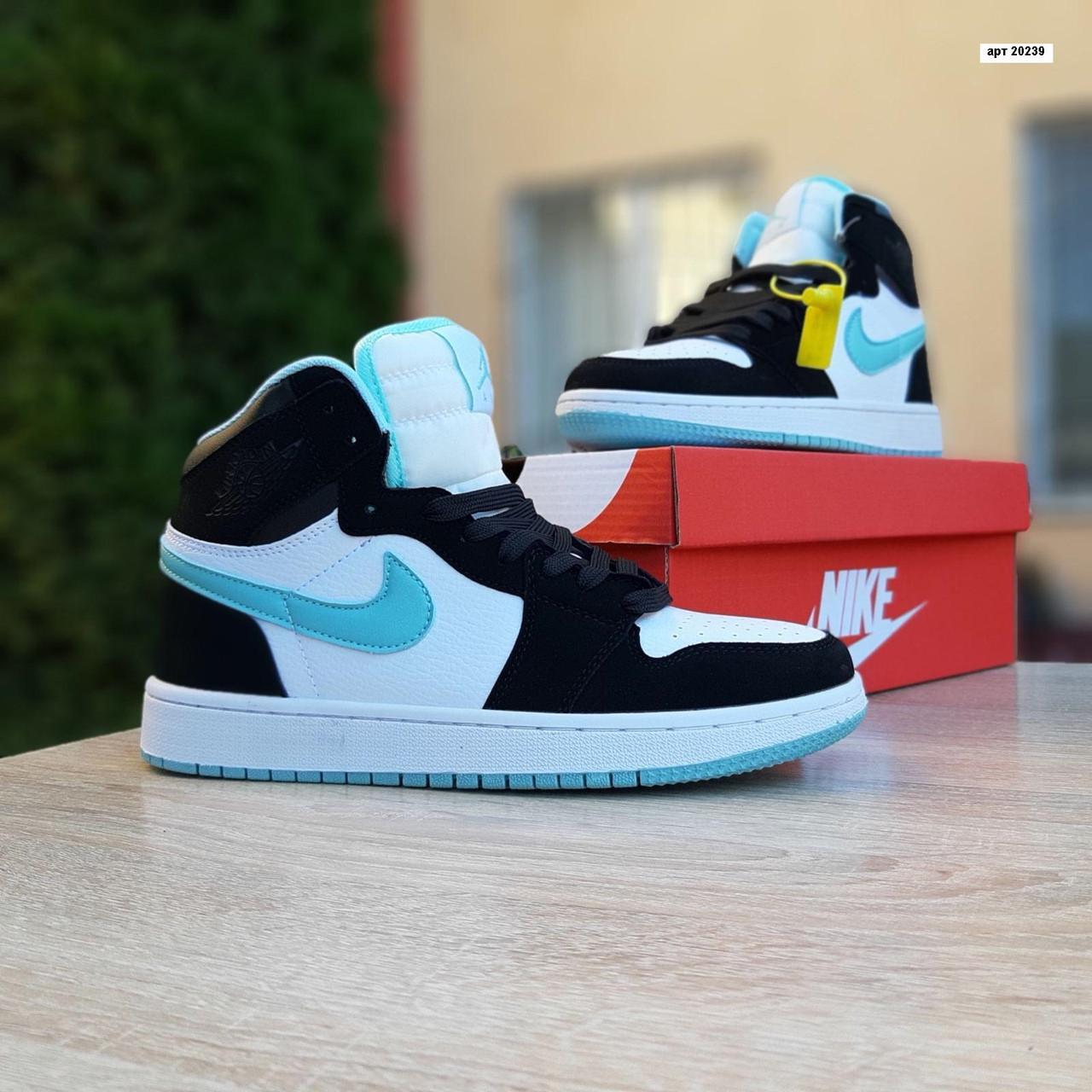 Женские кроссовки Nike Air Jordan (бело-черные с бирюзой) 20239
