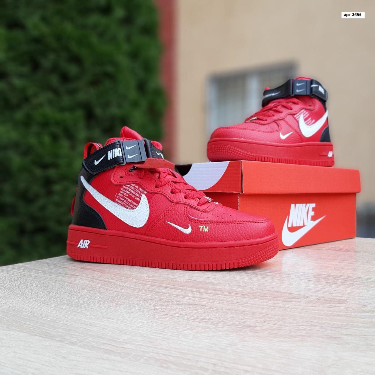 Женские зимние кроссовки Nike Air Force 1 Mid LV8 (красные) 3655