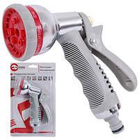 Пистолет—распылитель для полива хромированный 8—ми функциональный (центральный, туман, душ, угловой, полный, п