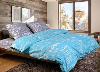 Евро комплект постельного белья I Love you (бирюзово-серое) - лове з сірим