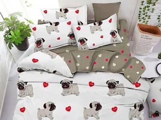 Евро комплект постельного белья с собаками (белое) - мопси компанія