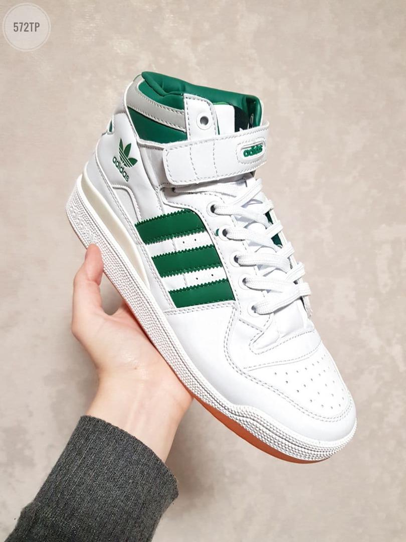 Мужские кроссовки Adidas Forum High (бело-зеленые) 572TP
