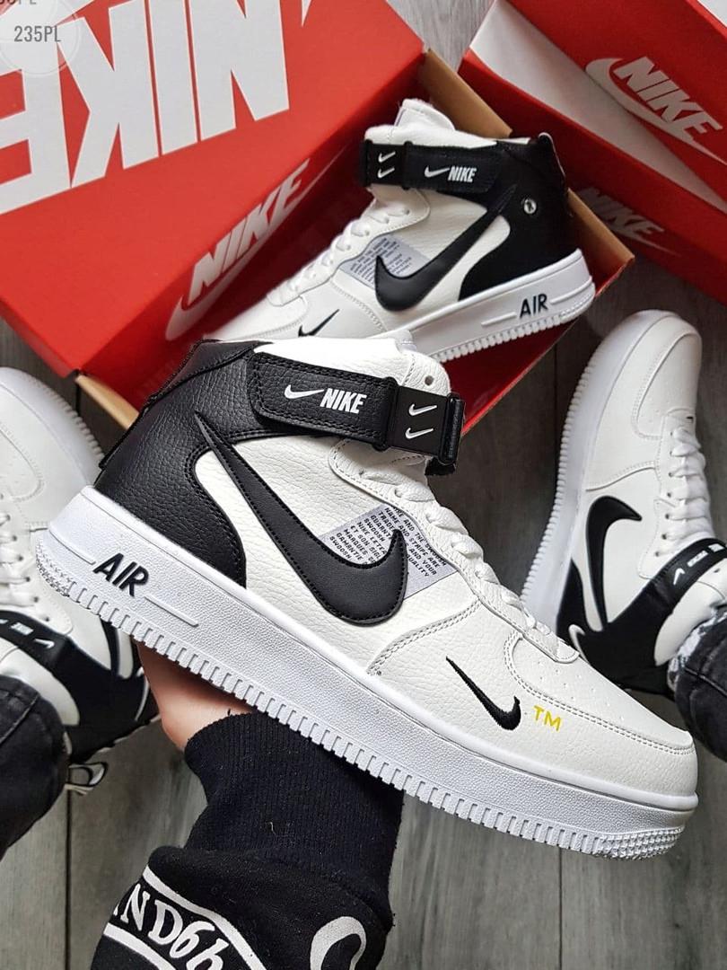 Мужские зимние кроссовки Nike Air Force High White/Black Winter (бело-черные) 235PL