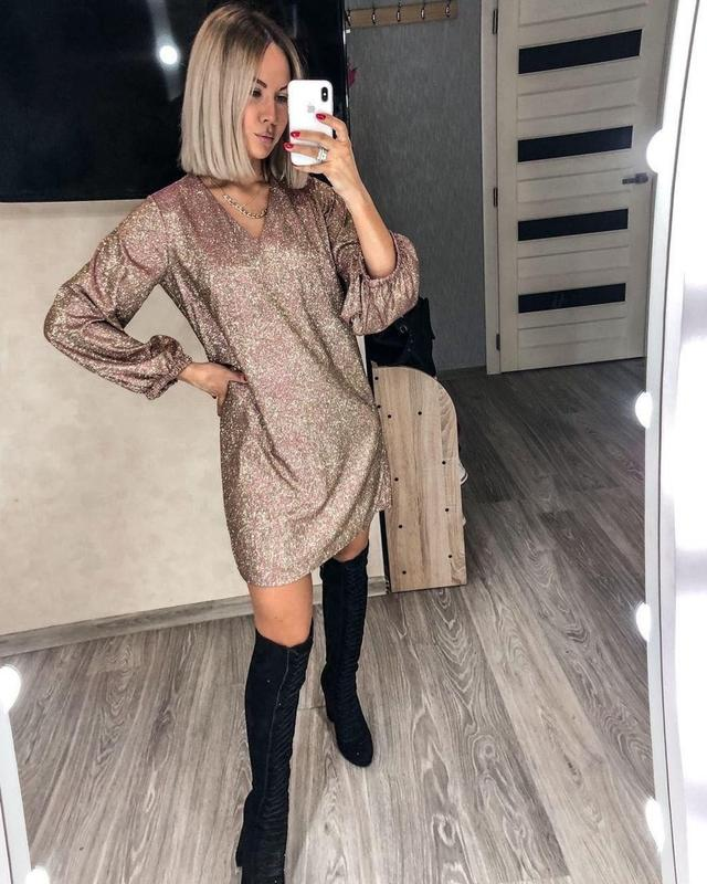 Женское модное блестящее платье из люрекса