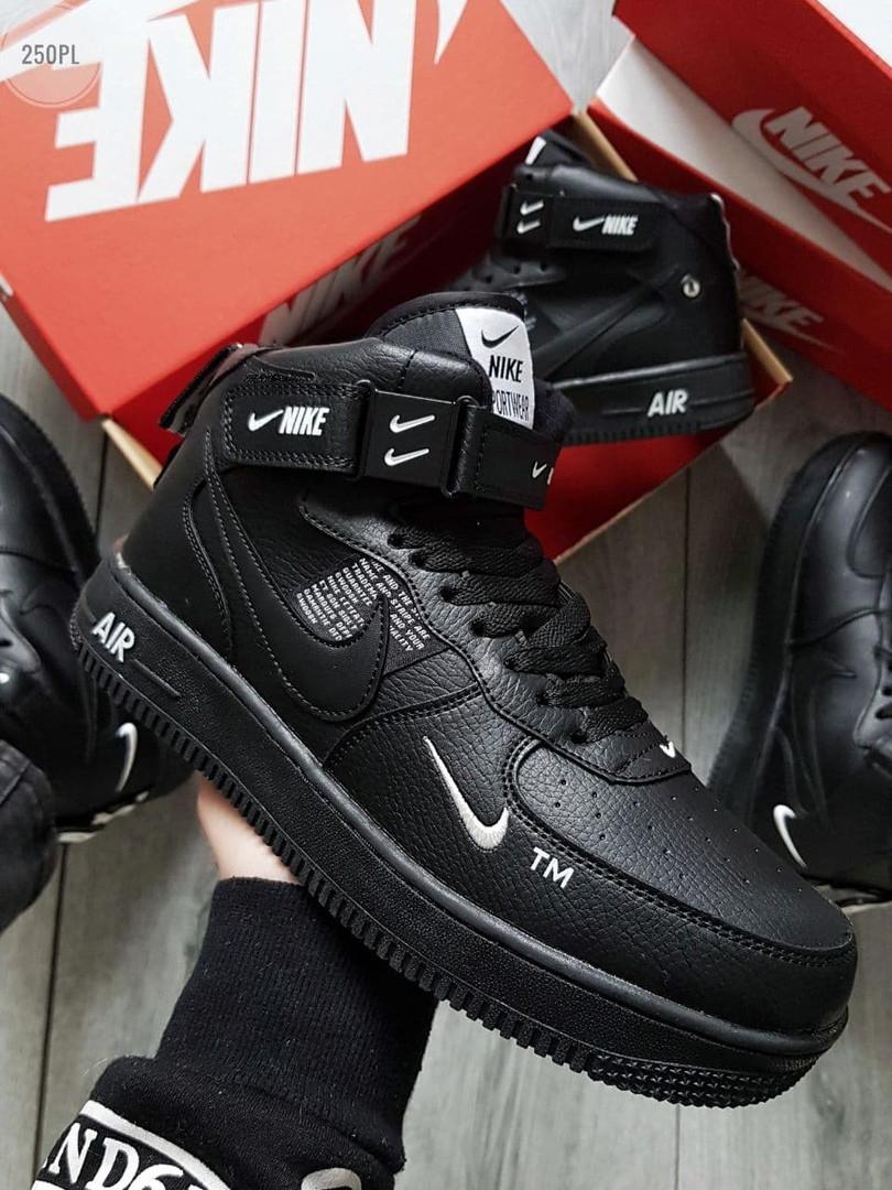 Мужские зимние кроссовки Nike Air Force High Black Winter (черные) 250PL
