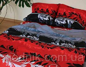 Полуторна постільна білизна з рослинами (червоне) - вітражі червоні