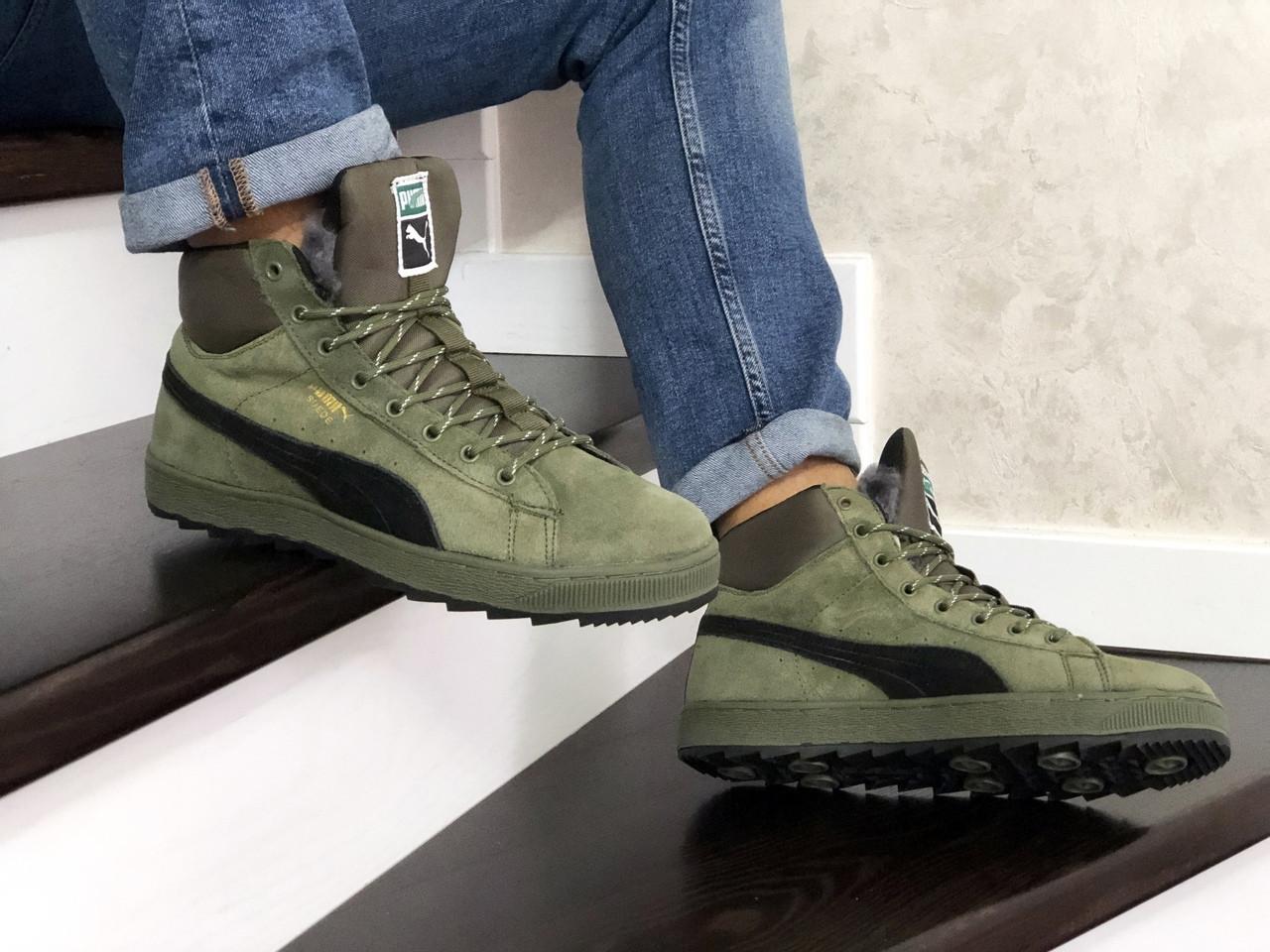 Мужские зимние кроссовки Puma Suede (темно-зеленые) 10088