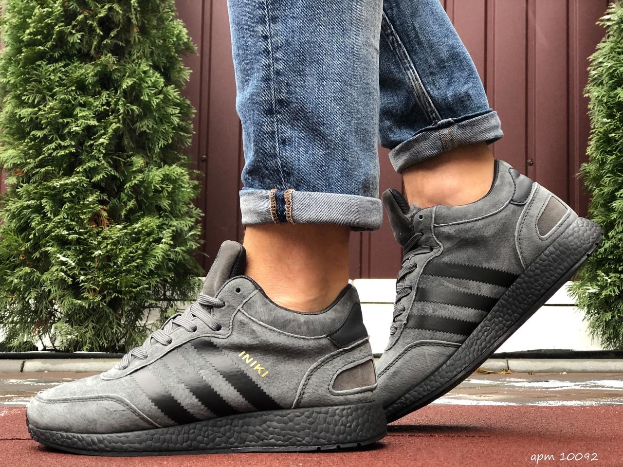 Мужские зимние кроссовки Adidas Iniki (серо-черные) 10092