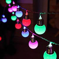 Гірлянда ретро лампочки 20 led 7м мульти  гирлянда светодиодная лофт лампы эдисона мультик матовый мерцающий