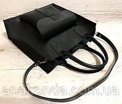 161-4р Натуральная кожа Формат А4+ Женская сумка черная на плечо кожаная натуральная Размер А-4 сумка, фото 2