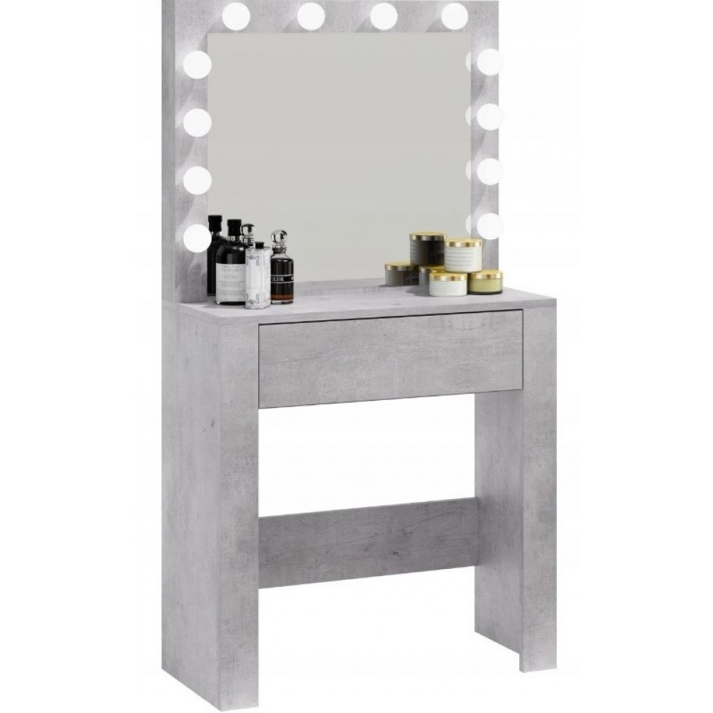 Туалетний Столик косметичний трюмо з великим дзеркалом з підсвічуванням МДФ, ламінованої з двох сторін сірий