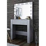 Туалетний Столик косметичний трюмо з великим дзеркалом з підсвічуванням МДФ, ламінованої з двох сторін сірий, фото 2