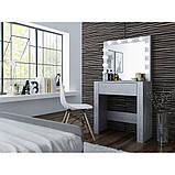 Туалетний Столик косметичний трюмо з великим дзеркалом з підсвічуванням МДФ, ламінованої з двох сторін сірий, фото 3