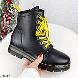 Женские ботинки ЗИМА черные с желтым на шнуровке эко кожа, фото 2