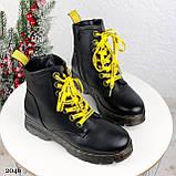 Женские ботинки ЗИМА черные с желтым на шнуровке эко кожа, фото 8