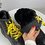 Женские ботинки ЗИМА черные с желтым на шнуровке эко кожа, фото 6