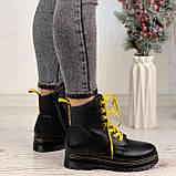 Женские ботинки ЗИМА черные с желтым на шнуровке эко кожа, фото 4