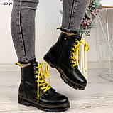 Женские ботинки ЗИМА черные с желтым на шнуровке эко кожа, фото 7
