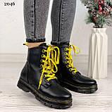 Женские ботинки ЗИМА черные с желтым на шнуровке эко кожа, фото 5
