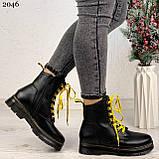Женские ботинки ЗИМА черные с желтым на шнуровке эко кожа, фото 9