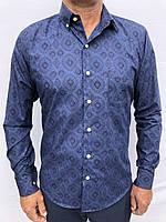 Мужская рубашка синий принт 3XL-48