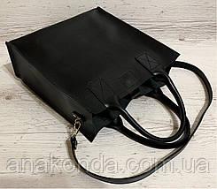 161-4р Натуральная кожа Формат А4+ Женская сумка черная на плечо кожаная натуральная Размер А-4 сумка, фото 3
