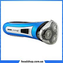Электробритва Gemei GM 7090 3 в 1 - Бритва аккумуляторная роторная с триммером Синяя, фото 3