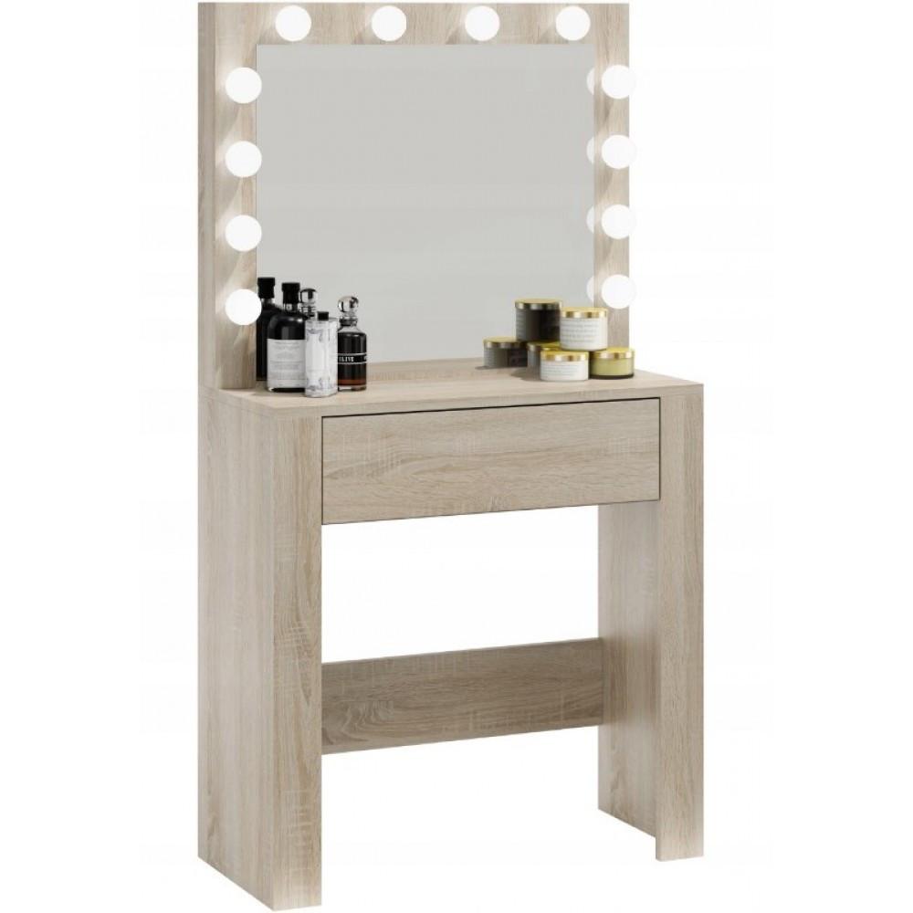 Туалетный Столик косметический трюмо с большим зеркалом с подсветкой МДФ ламинированной дуб сонома