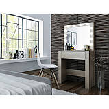 Туалетный Столик косметический трюмо с большим зеркалом с подсветкой МДФ ламинированной дуб сонома, фото 3