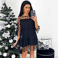 Женское чёрное нарядное платье, фото 1