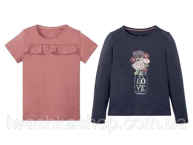 Комплектом розовая футболка с оборкой и лонгслив на девочку 4 - 6 лет. р. 110 - 116, Lupilu.