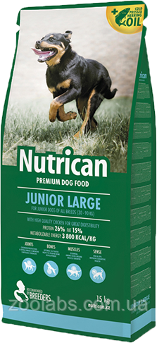 Корм Nutrican для щенков крупных пород | Nutrican Junior Large Breed Dog 15 кг
