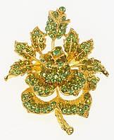"""Брошь """"Роза с зелеными стразами"""" цвет листиков в ассортименте (уточнять), фото 1"""