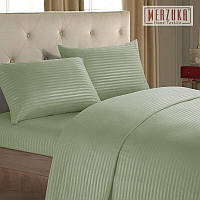 Качественный постельный комплект MERZUKA страйп-сатин Евро Оливка