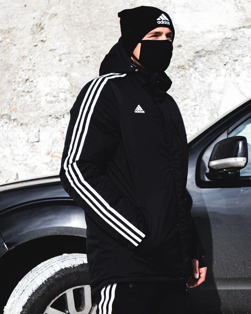 Зимняя мужская куртка Adid@s Originals черного цвета
