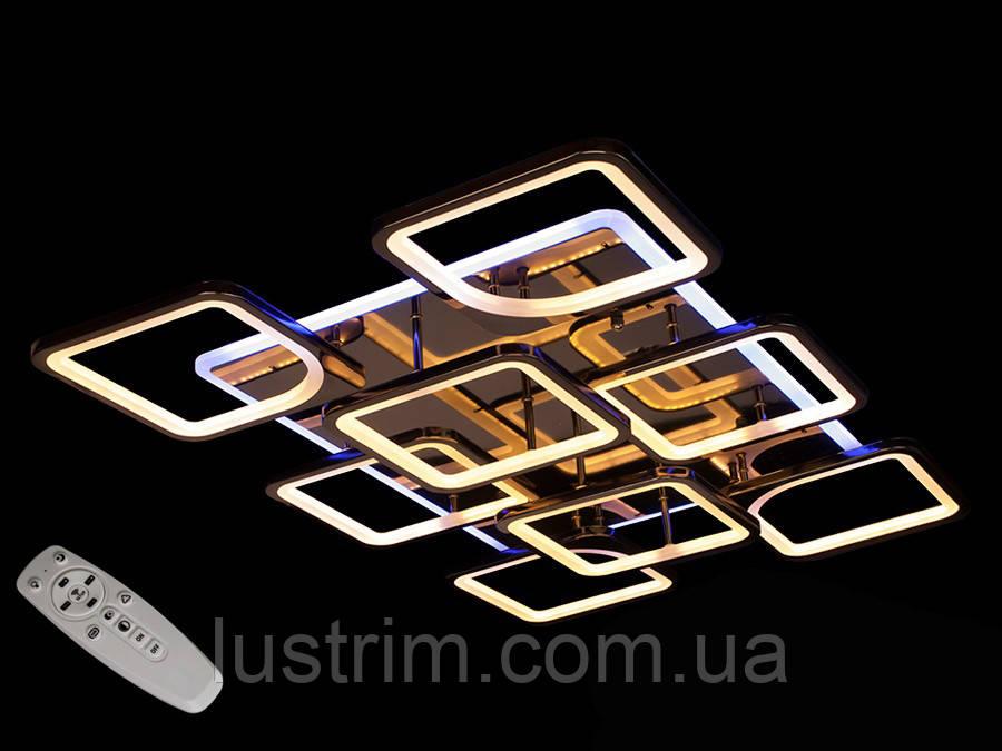 Светодиодная люстра с диммером и LED подсветкой, цвет чёрный хром, 220W