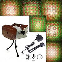 Диско лазер, Стробоскоп, Лазерный проектор 6 в 1 металик