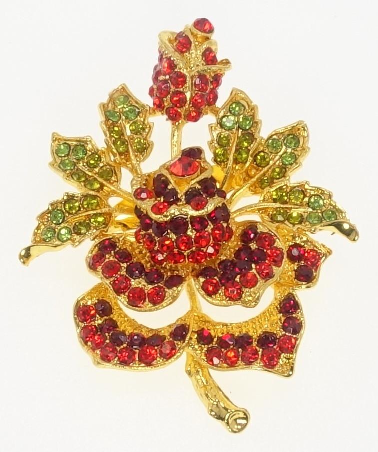 """Брошь """"Роза с красными и зелеными стразами"""" цвет листиков в ассортименте (уточнять)"""