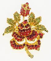 """Брошь """"Роза с красными и зелеными стразами"""" цвет листиков в ассортименте (уточнять), фото 1"""