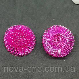 """Декор проволока """"Цветок лопуха""""  Цвет малиновый диаметр 28 мм высота 18 мм"""