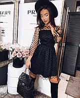 Женское праздничное черное мини платье сетка креп костюмка с-м, л- хл