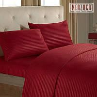 Качественный постельный комплект MERZUKA страйп-сатин Евро Красный