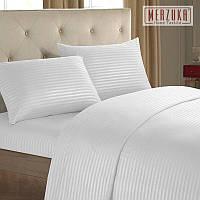 Качественный постельный комплект MERZUKA страйп-сатин Евро Белый