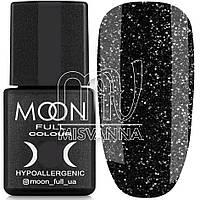 Гель лак MOON FULL color Gel polish, 8 мл №319 черный с серебристыми блестками