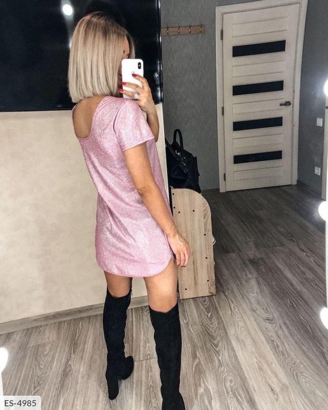 Женское блестящее мини платье с коротким рукавом