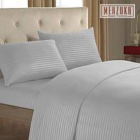 Качественный постельный комплект MERZUKA страйп-сатин Евро Светло-серый