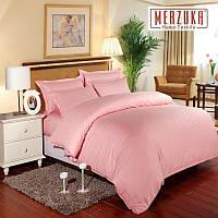 Качественный постельный комплект MERZUKA страйп-сатин Евро Светло-серый Розовый