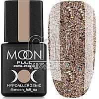Гель лак MOON FULL color Gel polish, 8 мл №322 бежевый с голографическими блестками