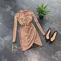 Красивое люрексовое мини платье с имитацией запаха, фото 1